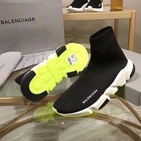 Balenciaga Speed Trainers Black With Tricolor Sole Sneakers-1