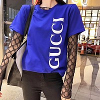 GUCCI Fashion Hot Sale Couples Letter Print Simple Short Sleeve T-Shirt