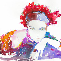 """Print of Watercolor Painting, Fashion Illustration Print - Rose 13"""" x 19"""""""