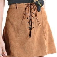 New Frontier Brown Faux Suede Lace Up A Line Mini Skirt