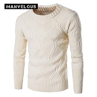 Manvelous Sweater Men Autumn Simple Casual Thick Warm Slim Cotton Blends Pullovers European Style Designer O-Neck Mens Sweaters