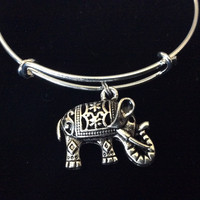 Silver 3D Elephant Charm Silver Expandable Charm Bracelet Adjustable Bangle Yoga Trendy