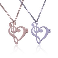 Trendy Music Note Necklace Gold Silver Heart Pendant Necklaces Popular Jewelry Creative Love Music Breaks Accessories