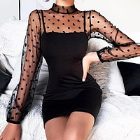 New fashion solid color mesh wave point women long sleeve dress Black