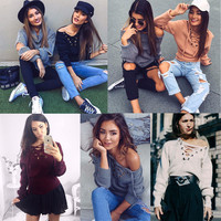 2016 Autumn Sexy Solid Lace Up Sweatshirts Fashion Hoodies Tops Long Sleeve O Neck Pullpvers For Women Ladies LX046