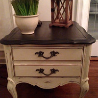 Vintage French Country/Rustic/ End Table/Bedside Table Hand Painted Annie Sloan Country Grey And Graphite Distressed And Waxed