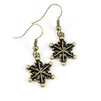 Tiny Snowflake - Antiqued Brass Vintage Style Snow Dangle Earrings - CP020