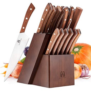 Vestaware Knife Set, 16-Piece Chef Knife Set with Knife Sharpener
