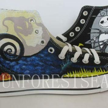 DCCK1IN converse custom sneakers canvas shoes the nightmare before christmas hand painted hal