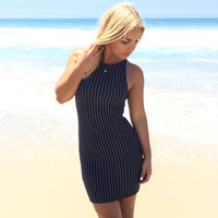 Gramercy Stripe Bodycon Dress In Navy