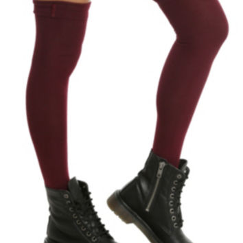 LOVEsick Burgundy Button Top Over-The-Knee Socks