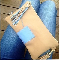 Tan and Blue Leather clutch/wristlet