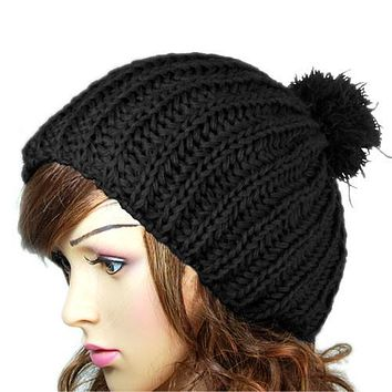 Hot 2016 Fashion New Winter Women Ladies Warm Wool Crochet Knitted Beanies Knit Slouch Baggy Cap Pom Pom Fur Hat bonnet femme Z1