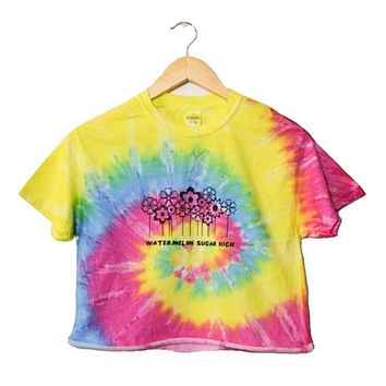 Watermelon Sugar High Rainbow Tie-Dye Graphic Cropped Unisex Tee