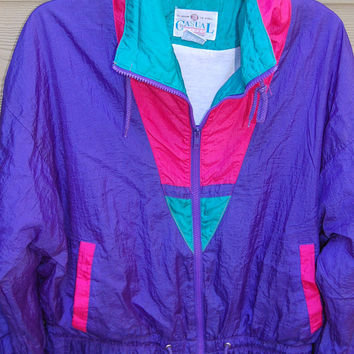 Vintage 80s 90s Purple Aqua Hot Pink Windbreaker Jacket Rain Slicker Size Medium