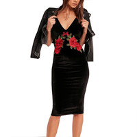 Velvet Rose Embroidered Pencil dress