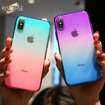 KISSCASE Ultra Slim Double Color Gradient Case For iPhone XR X 8 Plus 7 Soft TPU Cases For iPhone 6S 6 Plus 6 S 5S 5 Se XS Max