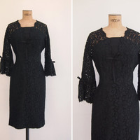 1960s Dress - Vintage 60s Black Lace Dress - Swallow Song Dress