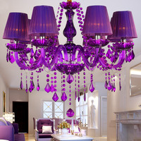 Crystal Chandelier Purple Lampshades Lustres De Cristal Para Sala Modern Chandeliers Lighting Fixture For Living Dining Room
