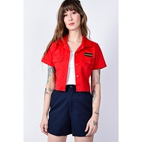 Red Cropped Work Shirt by Dickies Girl