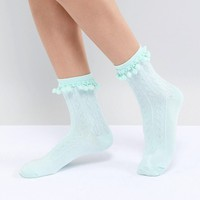 ASOS DESIGN Pom Pom Ankle Socks In Mint at asos.com