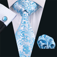 Gents Necktie Blue Novelty 100% Silk Jacquard Tie Hanky Cufflinks Set Business Wedding Party Ties For Men