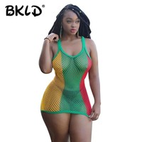 BKLD Summer Loose Sleeveless Casual Tank Tops Tshirt Mesh Fishnet T-shirt Colorful Patchwork See-through Sexy Tanks Tops Female