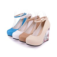High-heeled Printing Wedges Sole Platform Shoes Woman