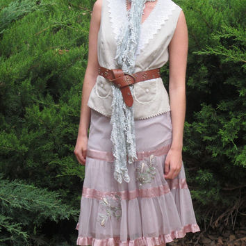 Couture Midi Skirt - Beaded Silk Skirt - Coachella Clothing - Country Cowgirl Clothes -  Mauve Gypsy Skirt - Boho Shabby Skirt |  Size Small
