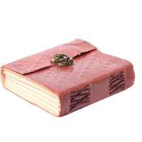 Handmade Leather Journal - Sketchbook - Blank Journal - Leather Diary Handmade Paper with Bronze Lock