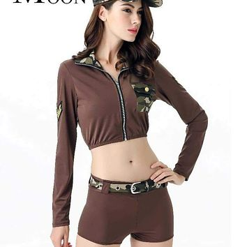 MOONIGHT Hot Sexy Soldier Army Costumes Women Halloween Camouflage Military Costumes Macchar Cosplay Catalogue