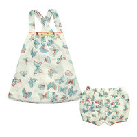 Kardashian Kids Girls 2 Piece Butterfly Print Sleeveless Georgette Tunic with Cross Over Straps and Bubble Shorts Set