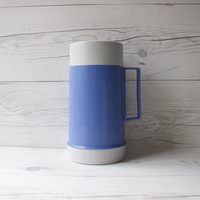 Vintage Blue and Grey Plastic Thermos | Made in Canada | Camping Accessories
