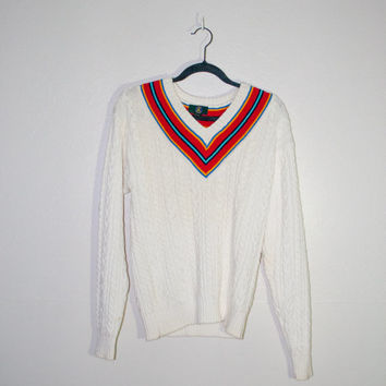 white cable knit v neck sweater with striped collar, vintage warm retro cotton rainbow stripe