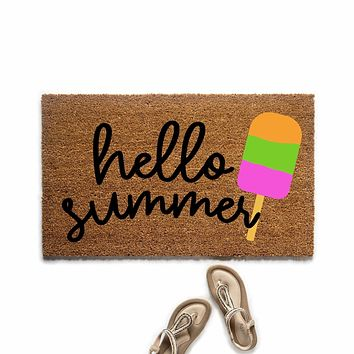 Hello Summer Popsicle Doormat
