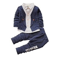 Spring Baby Boy Clothing Set Toddler Boys 2PCs Clothes Suit Baby Infant Tracksuit set Kids Gentleman Stripe Outfits