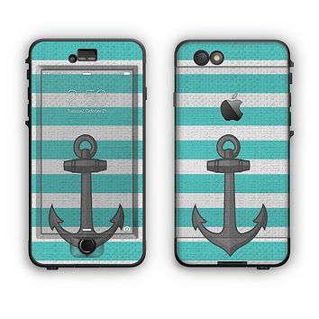 The Trendy Grunge Green Striped With Anchor Apple iPhone 6 Plus LifeProof Nuud Case Skin Set
