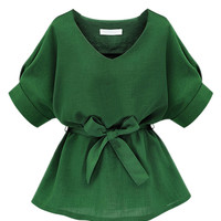 Green V Neck Bow Tie Short Cuff Sleeve Blouse