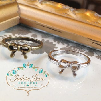 Jadorelexiecouture Love Vintage Silver and Antique Finish Simple and Sweet Bow Ring Women's Accessories