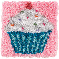 Wonderart Cupcake Latch Hook Rug Kit Kids Craft Kit 12 x 12 Square Made in the USA