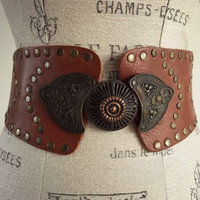 Vintage Leather Moroccan Belt Kuchi Studded Embellished Cincher BOHO Cinch Corset Wide Gypsy Hippie festival Free People Hippie brown M L