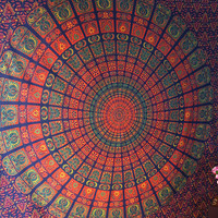 Queen Size Hippie Bedding Large Indian Barmeri Mandala Printed Cotton Tapestry Wall Hanging Throw Home Decorative Art