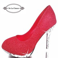 2016 Glitter Wedding Shoes Bridal Evening Party Crystal Red Bottom High Heels Women Shoes Sexy Women's Pumps Bridal Shoes