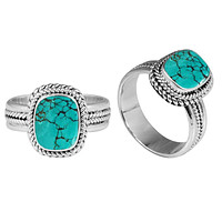 """SR-8052-TQ-5"""" Sterling Silver Ring With Turquoise"""