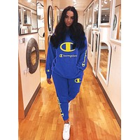 Champion Autumn And Winter New Fashion Embroidery Letter Hooded Long Sleeve Sweater Sports Leisure Top And Pants Two Piece Suit Blue