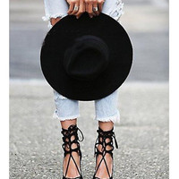 2017 Summer High Heel Hollow Out Pointed Toe Plus Size Shoes [10761025167]