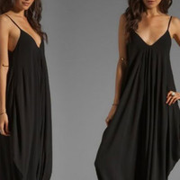 Black Sleeveless V-Neck Camisole Maxi Dress