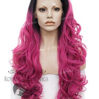 """26 inch Heat Safe Synthetic Lace Front """"Constance"""" with Curly Texture in Rooted Magenta"""
