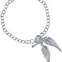 Silver Angle Wings Charms T-Bar Bracelet 19cm