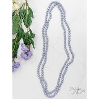 """The Essential 60"""" Double Wrap Beaded Necklace-Lilac Grey-8mm"""